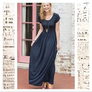 Matilda Jane Deep Water Maxi Dress Pockets Buttons